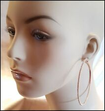 NEW GOLD BLACK ROSE GOLD PAVE CRYSTAL RHINESTONE ULTRA THIN LARGE HOOP EARRINGS