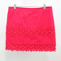 J.CREW Daisy Lace Mini Skirt Womens Sz 8 Coral Red Cotton