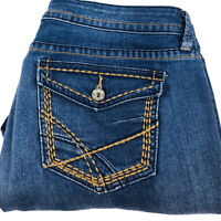 a.n.a Womens Dark Wash Mid Rise Capri Blue Denim Jeans Size 14 Inseam 24