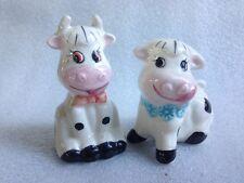 Vintage Ceramic Salt & Pepper Shakers Cows Marked*B*