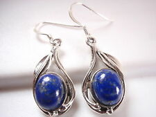 Lapis Floral Wrapped Accents Earrings 925 Sterling Silver Corona Sun Jewelry