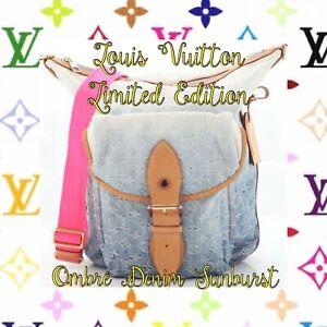 louis vuitton denim ombre limited edition sunburst crossbody tote bag AUTHENTIC