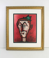 "BUFFET 1967 Original Lithograph ""Clown on a Red Background"" SIGNED Framed COA"