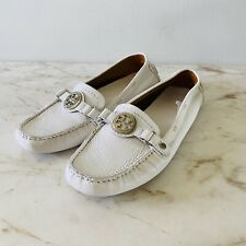 TORY BURCH White Leather Loafer Moccasin Flats Silver Logo - US 7