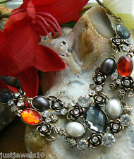 Unusual gift for her Smoked Grey Red statement gem Bib Necklace Wedding Party N1