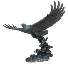 Awesome Life Like Veronese Bronze ~ FLYING  EAGLE ~ Catching Fish Bird Sculpture