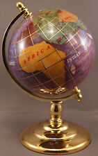 Multi-Gemstone 90mm Desktop Globe in Purple Pearl - Gold Tone Base Free S&H