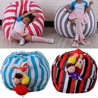 "16"" Kid Stuffed Animal Plush Toy Storage Bean Bag Pouch Stripe Fabric Chair"