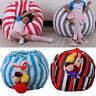 "16"" Kid Stuffed Animal Plush Toy Storage Bean Bag Soft Pouch Stripe Fabric Chair"