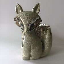 Bath & Body Works Gold Silver Glitter Fox Pedestal Large 3 Wick Candle Holder