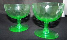 Green Depression Uranium Glass? Sherbet Set of 2