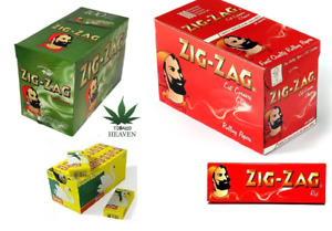 Zig Zag Rolling Papers cut corner Green / RED Box Of 100 Books