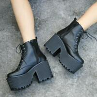 Punk Womens Platform Chunky High Heels Ankle Boots Lace Up Goth Shoes Pumps