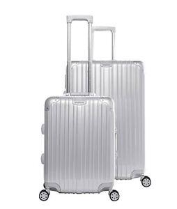 Gabbiano Aurora 2 Piece Aluminum Frame Hardside Spinner Luggage Set - Silver