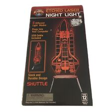NASA USA Space Shuttle Etched Laser Night Light USB Powered NEW OPEN BOX