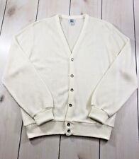 Vtg IZOD LACOSTE Orlon Acrylic Cardigan Sweater Cotton White USA Mens Medium A26