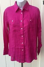 Womens Lauren Ralph Lauren ps petite small pink button down shirt top linen $85