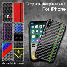 For iPhone XS Max XR 6 7 8Plus Carbon Fiber Shockproof Tempered Glass Case Cover