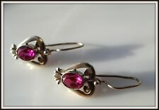 Antique Russian Sterling Silver 925 earrings openwork pink Topaz Gold Plated