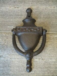 Large Cast Iron Antique Style Rustic Door Knocker Brown Finish Classic Front