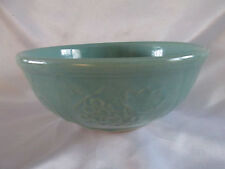 USA Glazed Round Rimmed Pottery Bowl Embossed Fruits Large Mixing Bowl Vintage