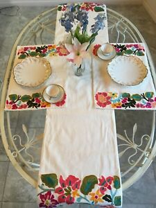 Living Quarters Place Mats and Table Runner Pink Red Green Embroidery NWT