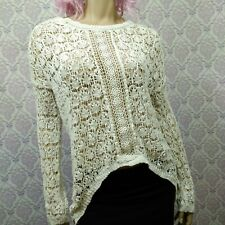 Poof Excellence Crochet Boho Hi Lo Sweater Womens Size S Off White Long Sleeve