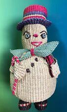 Vintage Snowman Frosty Basket Woven Coin Bank Piggy Figurine Folk Art Christmas