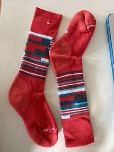 "New Smartwool ""Kid's Wintersport Stripe"" Kids Winter Sledding Ski Socks Pink"