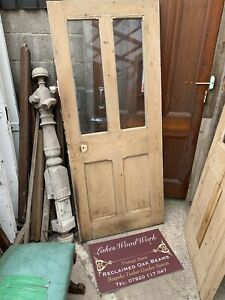 RECLAIMED - VICTORIAN DOOR - ANTIQUE PINE - Vestibule, Porch, Part Glass