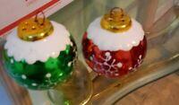 "Christmas Ornament Balls Salt & Pepper  Shakers 2.5"" tall"