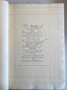 Manuscript Book Of Common Prayer, The Annexed Book, Photo Lithograph Facsimilie