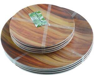 Tommy Bahama Faux Wood Grain Dinner Salad Plates Melamine Set of 8