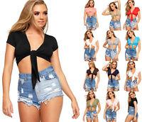 Ladies Tie Up Crop Short Sleeve Top Womens Stretch Open Plain Top Sizes 8 - 14