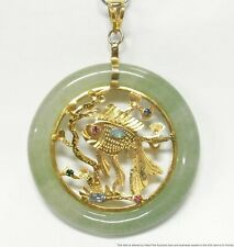 Vintage Japanese Koi Fish Multi Gem Gold Tone Pendant Large Aventurine Circle