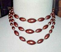 VINTAGE Triple String BEAD 1950/60s NECKLACE Hook Diamante Clasp reddish RETRO