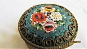 Petite Ormolu Micro Mosaic Pill Box Venice Italy, Antique Italian, 1930s