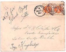 Z22 1890 GB IRELAND Drogheda Cover Dublin *NOT FOR ISLAND BRIDGE* QV Jubilees