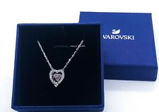 Sparkling Dance Heart Necklace Pink Rhodium Plate 2019 Swarovski Jewelry 5465284