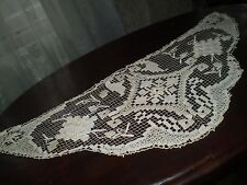 1930s Art Deco Vintage Hand-Knitted Cotton Crochet Lace filet