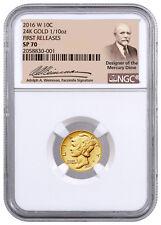 2016-W 1/10 Oz Gold Mercury Dime Centennial NGC SP70 FR (Weinman Label) SKU40846