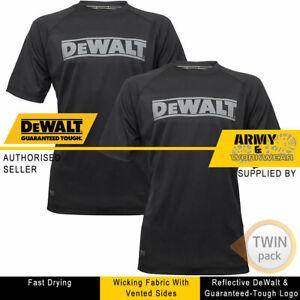 2 x Dewalt Mens Black Performance Vented T-Shirt Big Logo Workwear Crew Neck Top