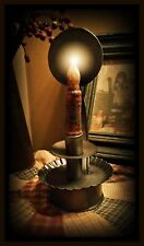Primitive~Reproduction~ Antique Dark Metal Colonial `Candle Reflector Lamp`