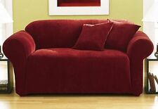 new sure fit stretch pique one piece loveseat slipcover garnet box cushion 220