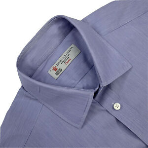 "16 Turnbull & Asser "" Classic "" Mid Blue Cotton Dress Shirt  Made England"