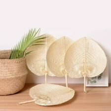 Woven Cooling Hand Fan Pure Natural Handmade Heart Shaped Bamboo Straw Summer