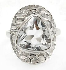 5CT White Topaz 925 Solid Sterling Silver Ring Jewelry Sz 7.5, ED35-4