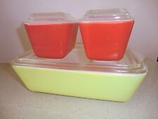 VINTAGE 6 PIECES  PYREX PRIMARY COLORS REFRIGERATOR DISHES PRE- USED