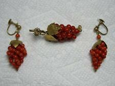 Antique CORAL Beads Grapes Screw Back Earrings Brooch Pin Gold Gilt Vermeil 800