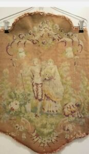 Antique French Tapestry hand embroidered needlepoint figural chair back Fabric